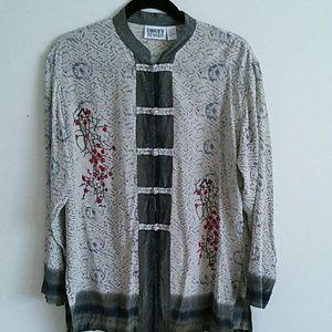 Chico's Mandarin silk blouse